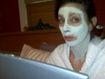It ain't pretty. Computer + Face Mask = Fake Relaxation